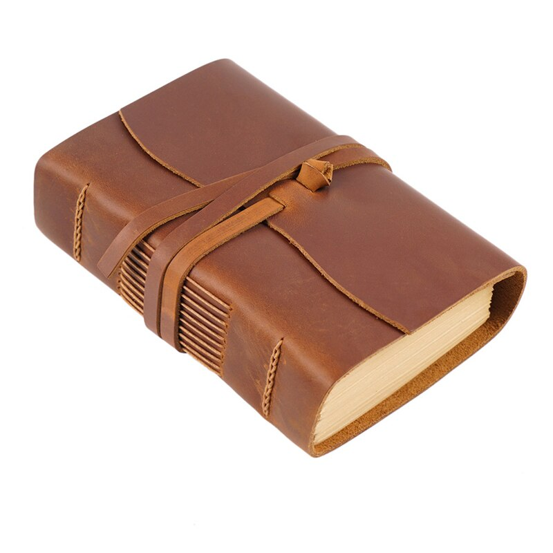 Retro Portable Notebook Real Genuine Leather Note Book 200 Papers Traveler Journal Writing Notepad Gift School Office Supplies