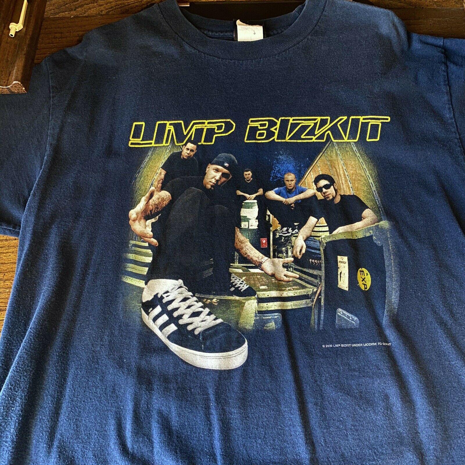 Limp Bizkit grande Original Vintage 2000 Oficial azul de marca gigante camiseta