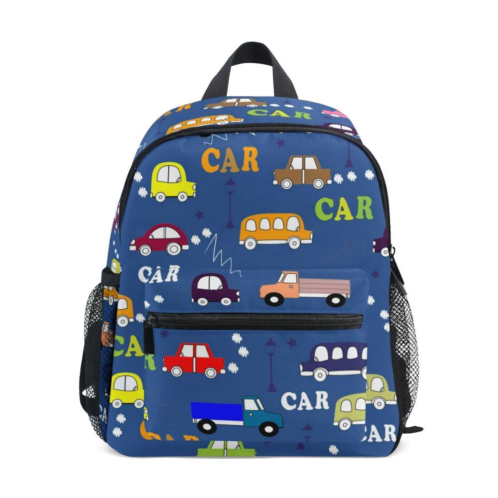 Aliz-حقيبة مدرسية للأطفال ، حقيبة مدرسية لأطفال رياض الأطفال ، مناسبة للأطفال من سن 3 إلى 8 سنوات ، حقيبة ظهر زرقاء ، حقيبة سيارة كرتونية