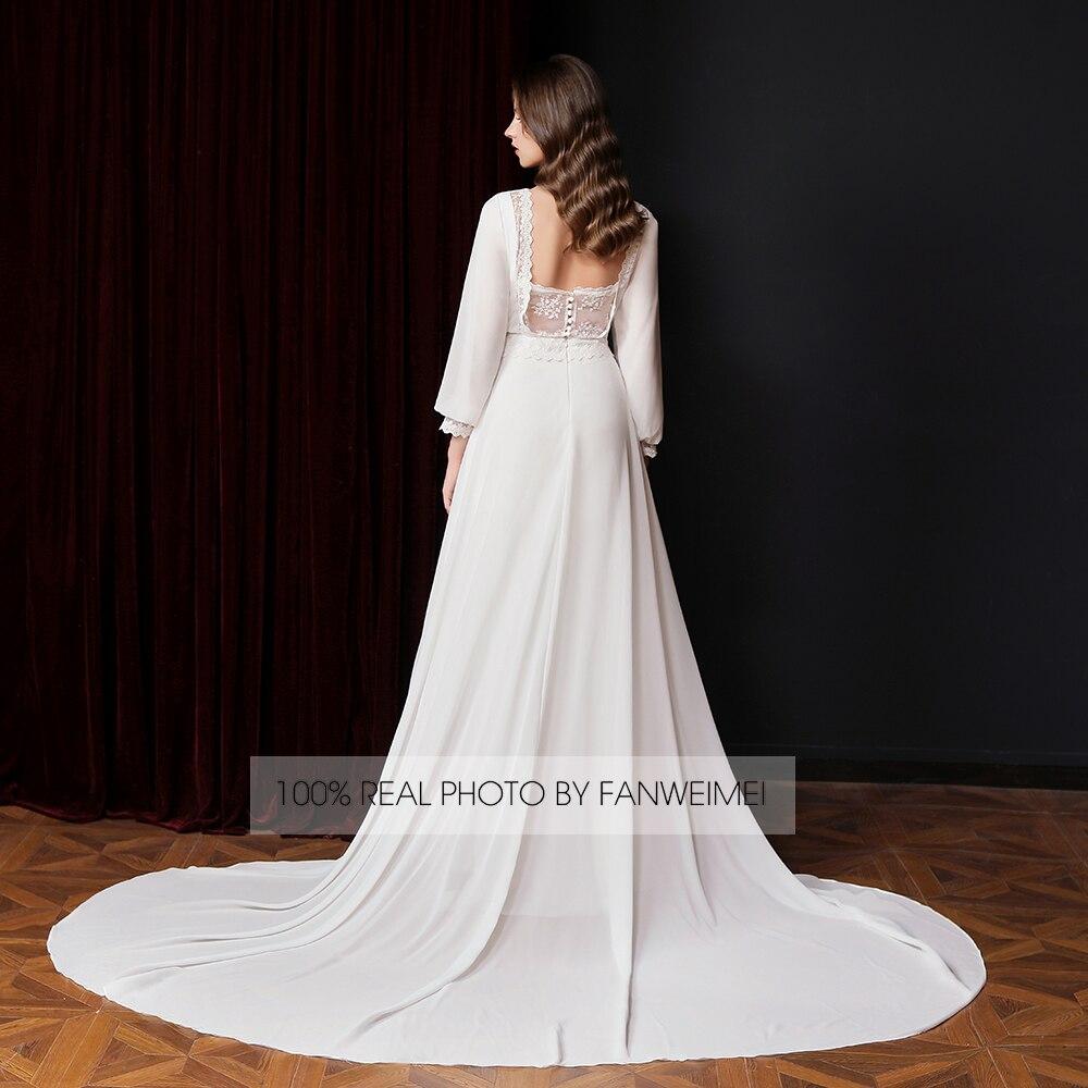 Peplum Lace Long Sleeves Chiffon Wedding Dress Elegant A Line Boho Beach Maxi Bridal Gown Backless 9013# Cheap Custom Made