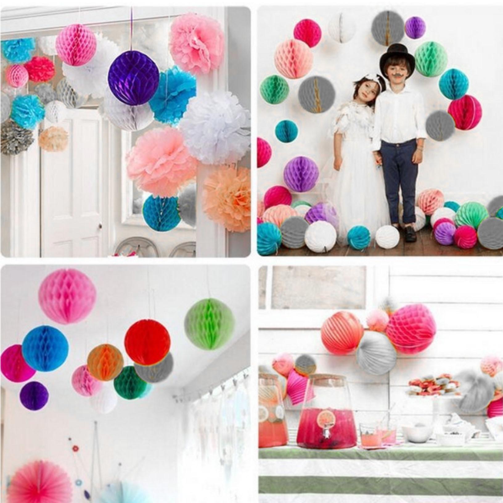 12 Uds mezcla de pompones de papel de seda verde menta Coral blanco bolas de nido de abeja Baby Shower decoración para fiesta de boda