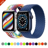 braided solo loop nylon strap for apple watch band 44mm 42mm 40mm 38mm elastic fabric bracelet strap for iwatch 6 5 4 3 2 1 se