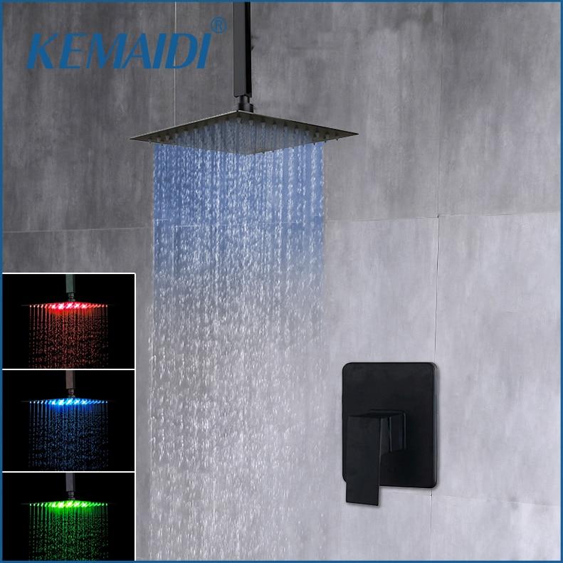 KEMAIDI 8 - 16 pulgadas ducha de lluvia cabeza mate negro montado en el techo lluvia baño ultradelgado cuadrado cabezal de ducha LED grifo