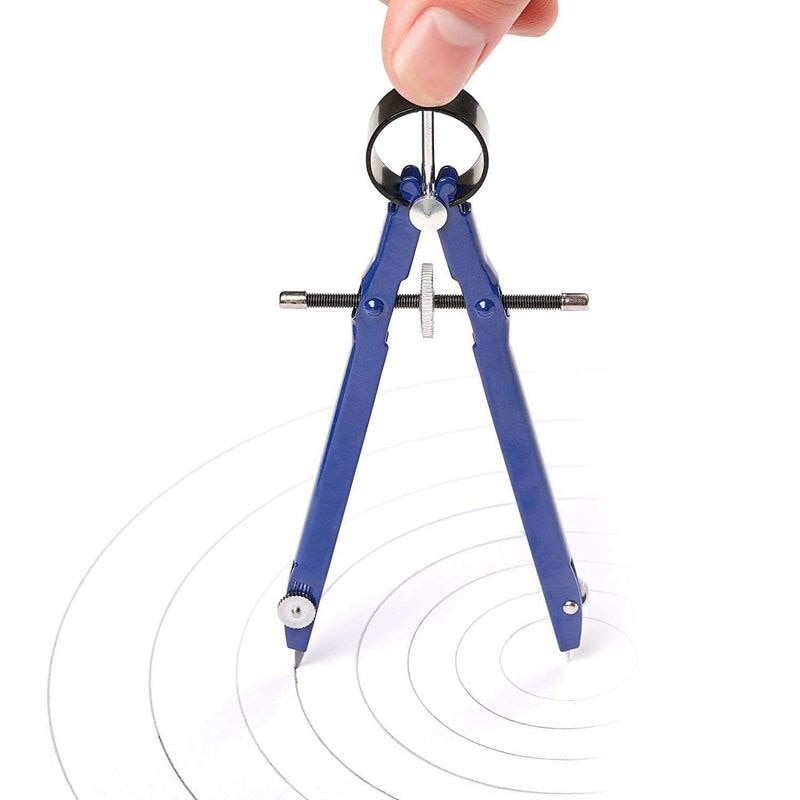 Paquete de 2 Brújula de dibujo con bloqueo, brújula de Metal con diseño de arco matemático, brújula con rueda, geometría, brújula, arco, divisor de precisión