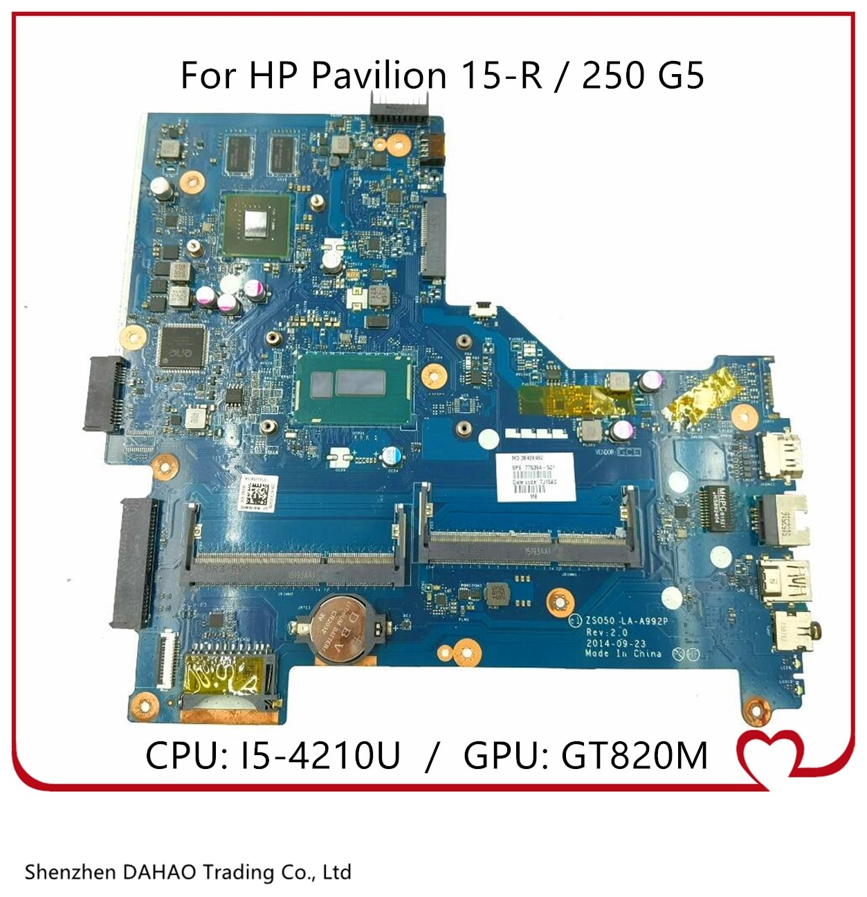 ZSO50 LA-A992P MB ل HP 250 G3 15-R اللوحة المحمول مع i5-4210U CPU GT820M GPU 760970-501 760970-001 760970-601 100% العمل