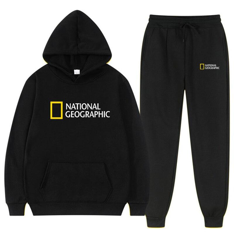 Худи National Geographic, однотонная толстовка из двух предметов, Мужская/женская спортивная одежда, Толстовка для спортзала + спортивные штаны кофт...
