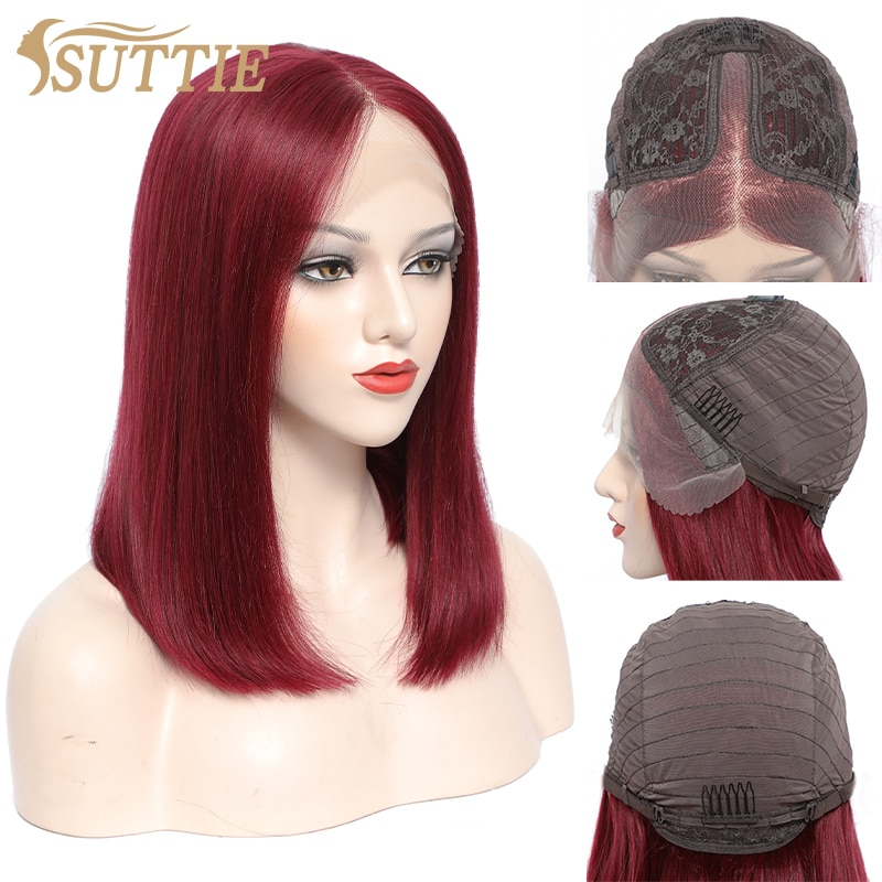 Suttie 13x4+4x1 Straight Bob Wig 99J Lace Part Human Hair Wigs Brazilian Transparent 150% Density Non-Remy 10 Inch Wigs