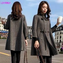 2019 outono nova Coreano splicing gola single-breasted das mulheres sete-ponto mangas fresco e encantador longo manto casaco de lã
