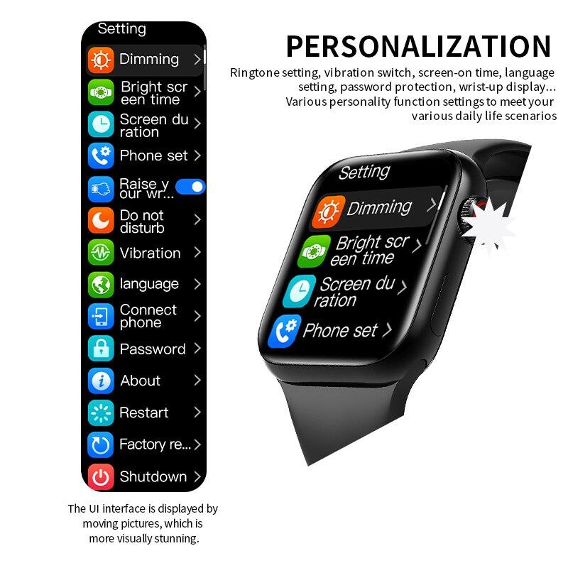 5PCS HW12 HW16 Full Screen Smart Watch 44MM 40MM Women Men AK76 Smartwatch with password Split Screen Bluetooth PK IWO 13 FK88