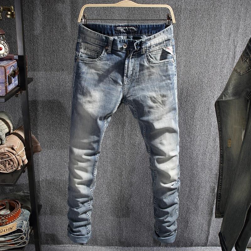 Европейские винтажные модные мужские джинсы Ретро светло-голубые простые дизайнерские узкие джинсы мужские высококачественные корейские ...