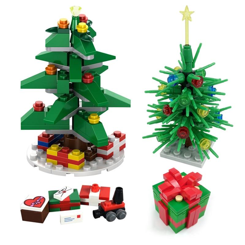 Аксессуары, строительные блоки, кирпичи MOC, рождественские детали, Рождественская елка, подарок, кирпич, детская игрушка «сделай сам», подар...