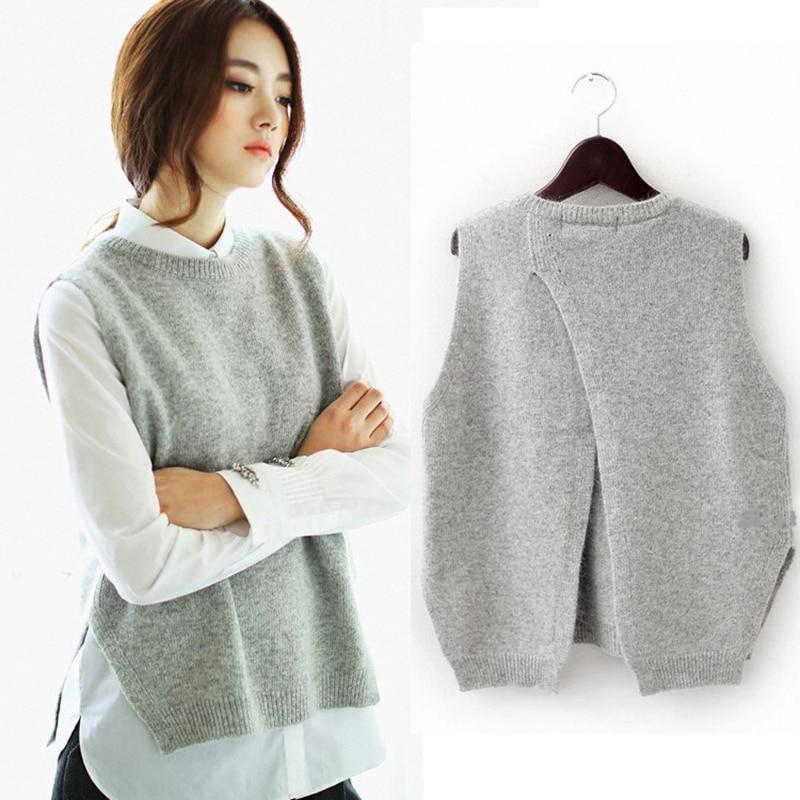 Suéter sin mangas tejido de lana Chaleco de mujer primavera otoño chaleco 2018 coreano femenino cuello redondo pulóver Casual Tops