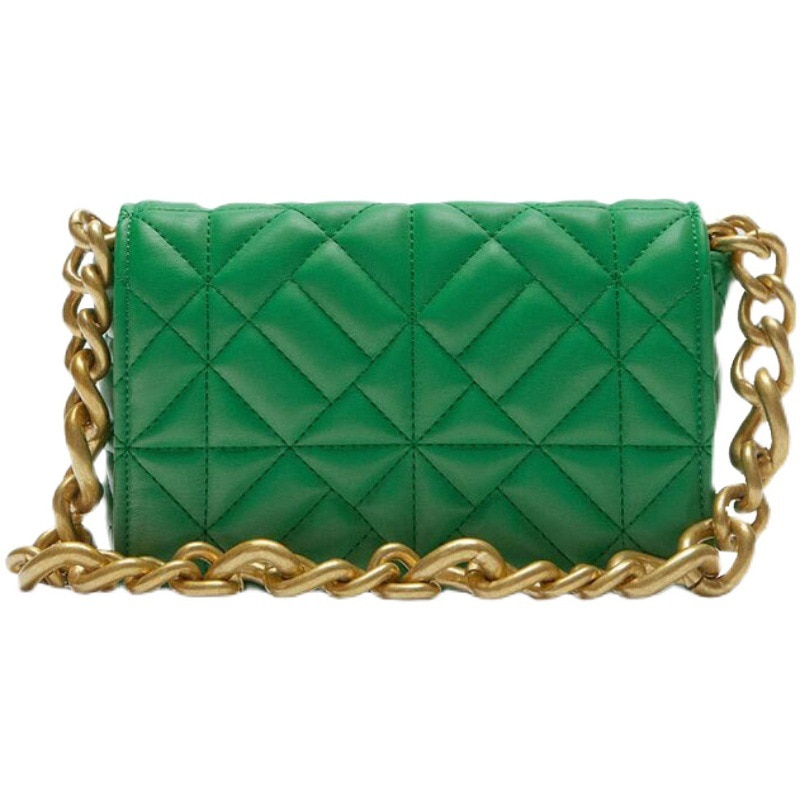 za Soft Pu Leather Chain Shoulder Bag Brand Design Casual Women Purses and Handbag Green Clutch Tote Bags for High Quality