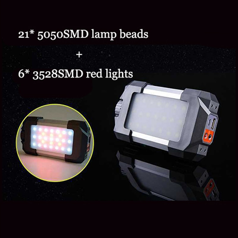Outdoor Rechargeable Portable 27 LEDs Lantern Lamp Flasher Flashlight Lantern Light with USB Hook 10W 500LM Camping Tent Light enlarge