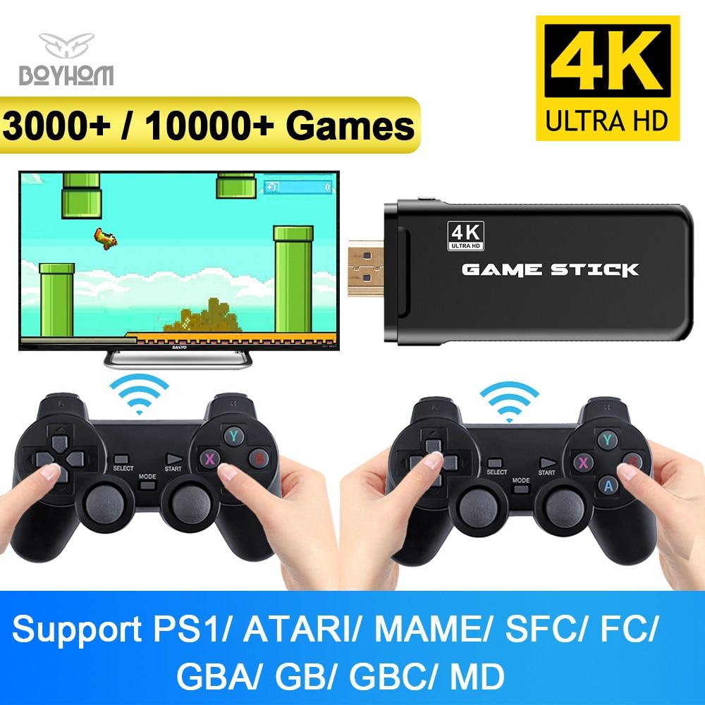 Boyhom Беспроводная игровая консоль 4K HD дисплей на ТВ Проектор Монитор классические ретро 10000 игры двойной контроллер плеер