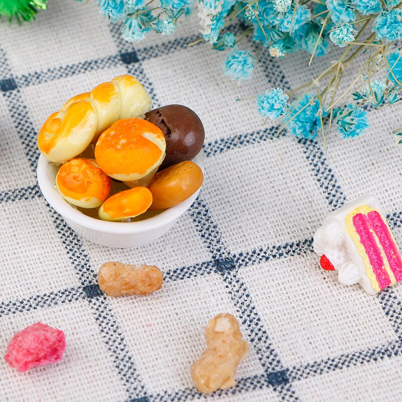 Comida pan tostado perro caliente con cesta comedor pastelería cocina Decoración Juguetes Para juego de imitación 112 casa de muñecas en miniatura