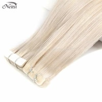 neitsi natural straight pu skin weft adhesives hair extensions 22 55cm blonde color 30 9cm hand tied tape in remy human hair
