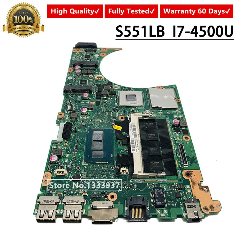 For ASUS K551L K551LB K551LN S551L S551LB R553L S551LN Laptop Motherboard S551LB Mainboard i7-4500U SR16Z REV 2.2