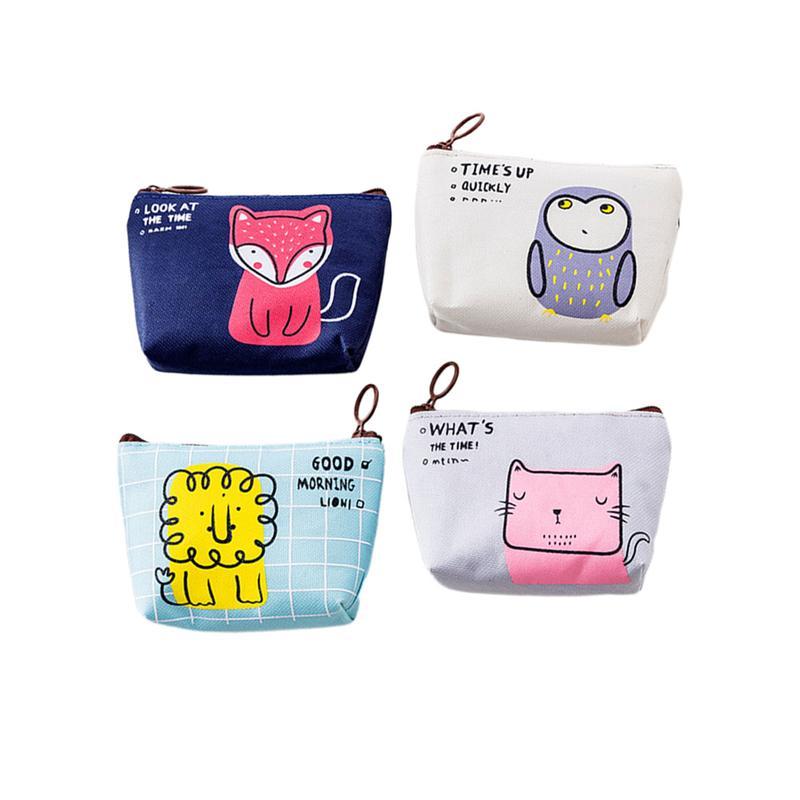 4PCS Cartoon Women Girls Coin Mini Purse Wallet Storage Bag Change Coin Key Earphone Line Zipper Cute Pouch (Owl Cat Fox Lion)