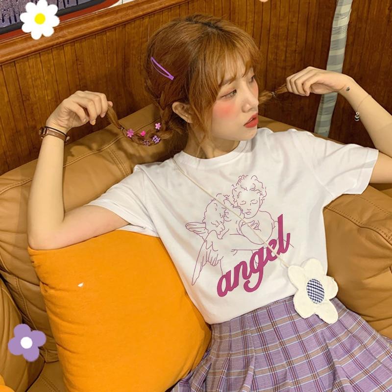 Camiseta divertida Kawaii de Ángel rosa con estampado bonito, ropa de verano de manga corta, camiseta de talla grande Harajuku divertida de cuello redondo, camiseta para mujer