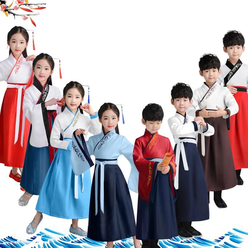 Los niños tradicional chino ropa de niño y niñas antiguos trajes gente hanfu de baile vestido de etapa rendimiento bebé cultura Tang traje