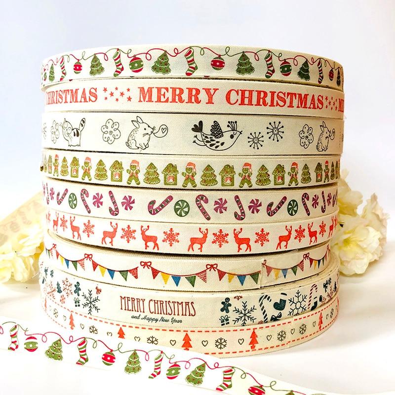 5 jardas veados algodão fita feliz natal floco de neve fitas de algodão para decoração de natal diy presente embrulho costura fita
