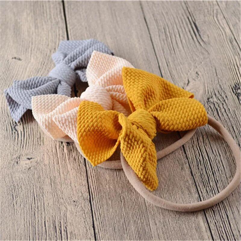 Gofre de pelo lazo de nailon elástico diademas niñas nailon suave diadema para niños bonita banda elástica accesorios para el cabello para niñas