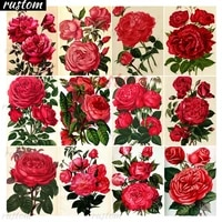 diy full squareround diamond painting blooming red rose flower picture dimond embroidery cross stitch home decor rustom