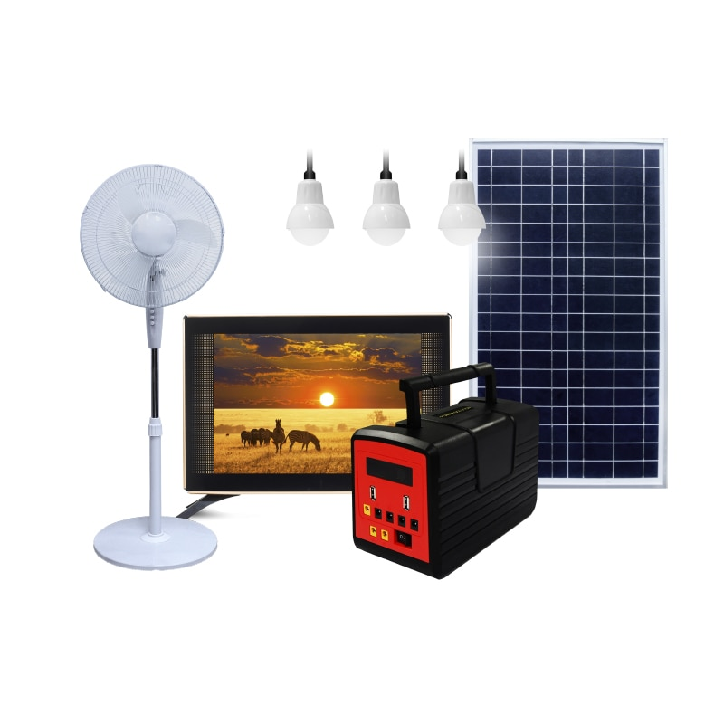 Prepaid Portable Rechargeable SHS Energy Generator Solar Powered lighting System Kit Off-grid Power Station enlarge