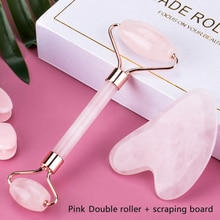 Face Massage Jade Roller Rose Quartz Natural Stone Gua Sha Slimmer Lift Wrinkle Double Chin Remover