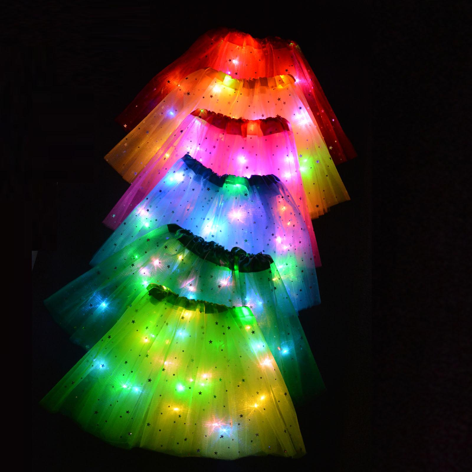 Kids Star LED Tutu Light Skirt Princess Party Tulle Pettiskirt Ballet Birthday Gift Elf Costume Wedding Flower Girls Ball Skirt