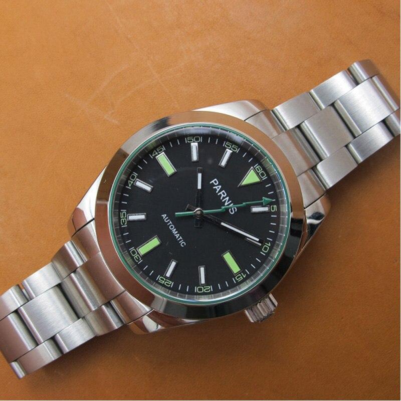 PARNIS 40MM esfera blanca reloj mecánico para hombre banda de acero inoxidable Miyota 8215 automático auto-viento relojes para hombre reloj hombre PA2107