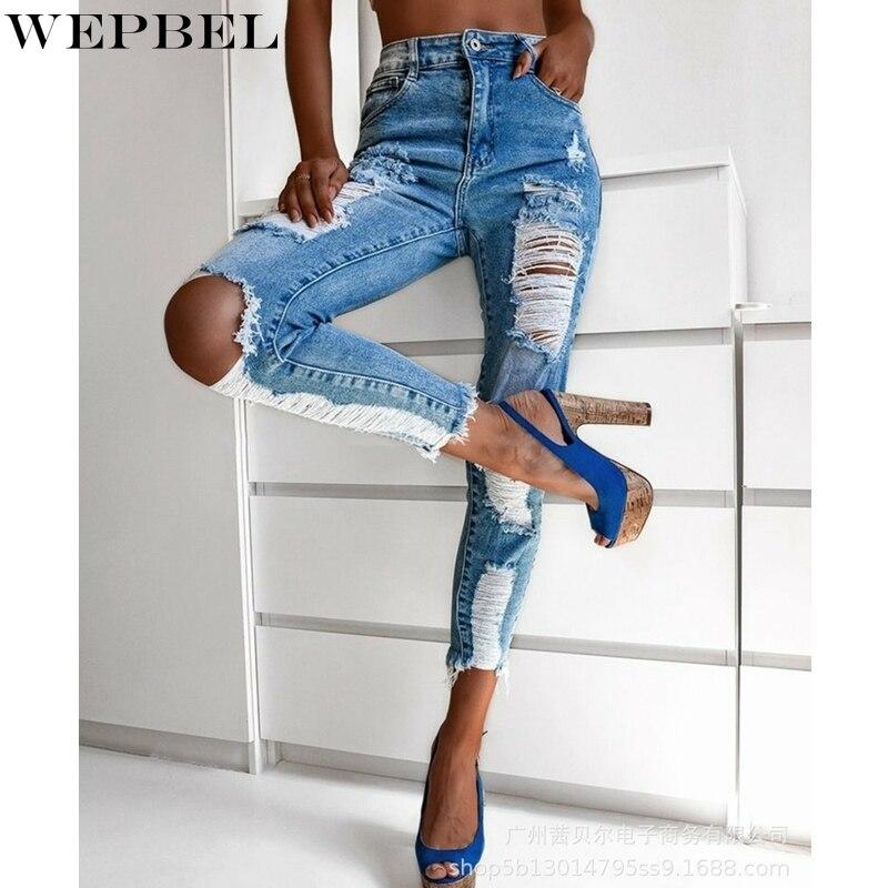Повседневные однотонные джинсы WEPBEL, женские узкие рваные джинсы с карманами, осенние модные джинсы-карандаш на пуговицах с высокой талией