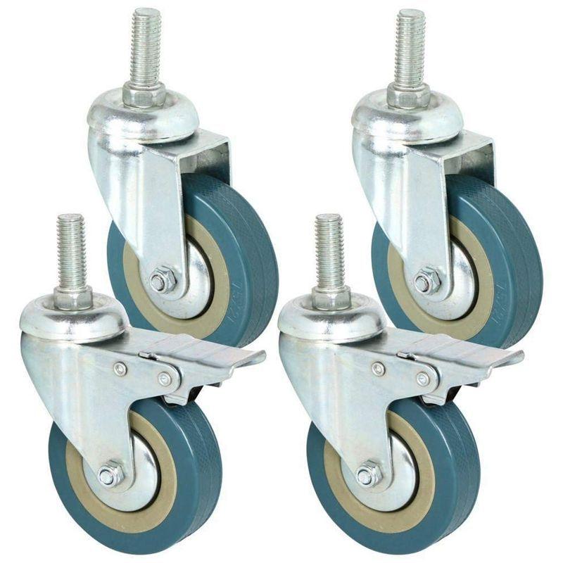 Ruedas giratorias de 75mm de alta resistencia con ruedas de carro de freno para muebles, Juego de 4