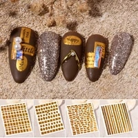 1 sheet 3d laser hot stamping nail stickers metal texture letter nail patch diy nail art