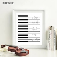 piano canvas painting prints where words fail music speaks quote poster modern wall art picture musician gifts home decor