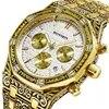 HONMIN – montre classique Vintage à grand anneau pour hommes montre de luxe à Quartz avec ceinture en acier et boîte-cadeau