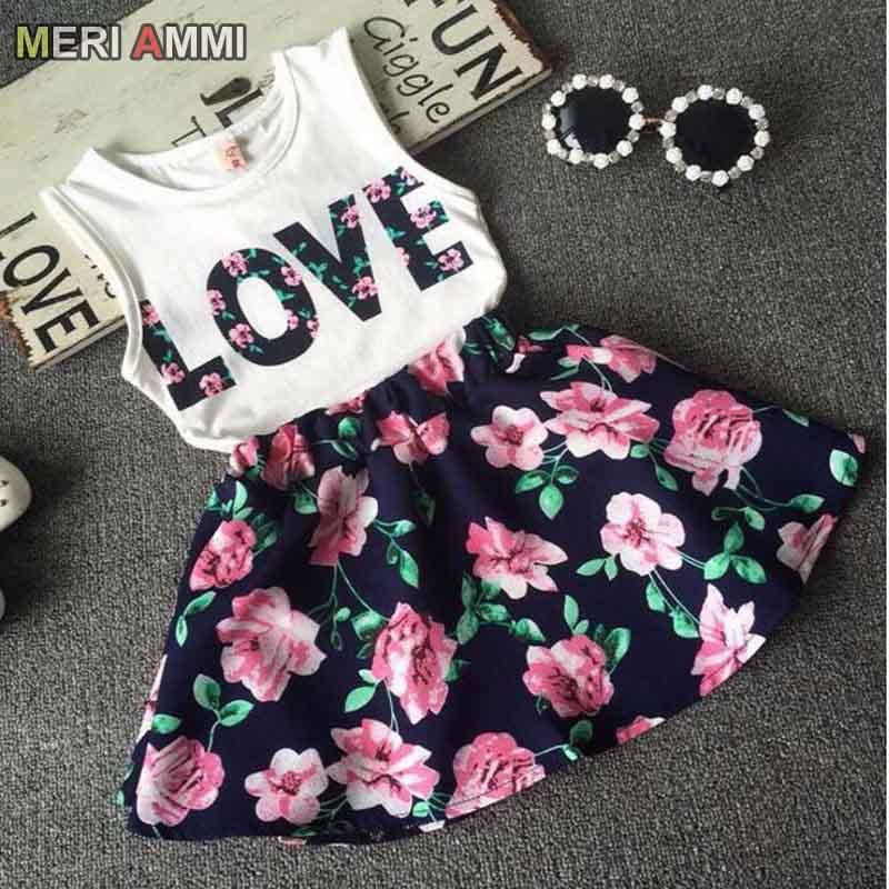 MERI AMMI 2 pcs Set Children Girl Clothing Outfit Set Sleeveless Love Tee +Flower Skirts For 2-11 Year Girl,J521