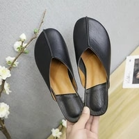 slhjc flat heel leather slippers round toe slip onn casual spring summer outside shoes drags flats slides