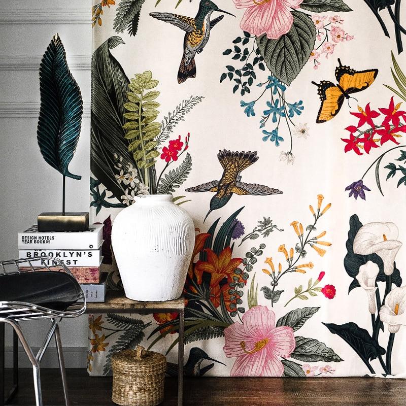 ستائر معتمة فاخرة لغرفة المعيشة وغرفة النوم ، ستائر مخملية مطبوعة على شكل طيور وزهور ، ستائر إبداعية صديقة للبيئة