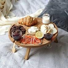 Tavolo da Picnic pieghevole da esterno in legno con supporto in vetro tavolo pieghevole pieghevole da tavolo pieghevole in vetro da vino per feste in giardino