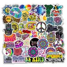 50 Pcs/pack rétro Hippies autocollants amour et paix pour moto ordinateur portable bagages planches à roulettes PVC étanche journal papeterie