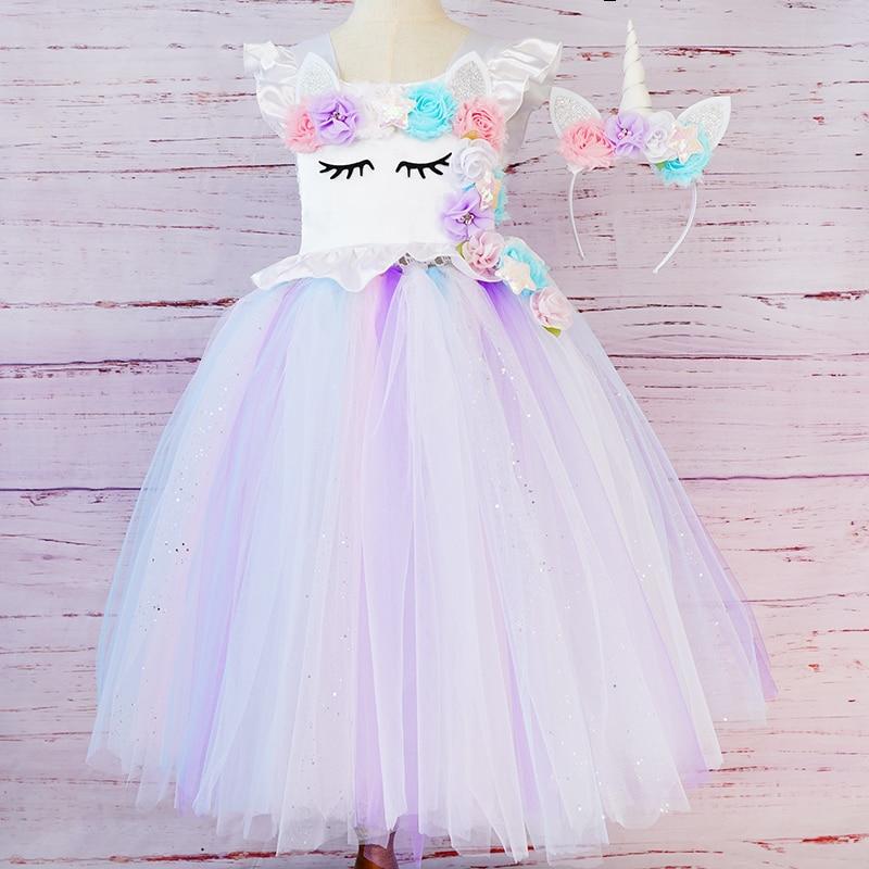 Платье принцессы с единорогом для маленьких девочек; Летнее платье-пачка ручной работы для свадебной вечеринки; Комплект с повязкой на голо...