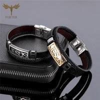 stainless steel christian cross jesus bracelet for men women multi layer leather bracelets bangles jewelry accessories