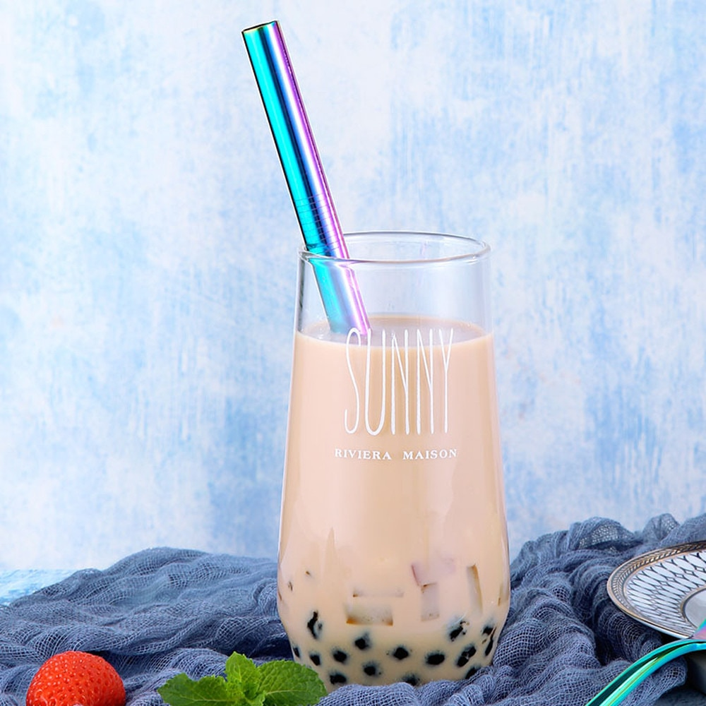 Pajillas para beber de Metal de acero inoxidable de color largo reutilizables pajillas para beber perla de leche de té de 215*12mm de plata negra