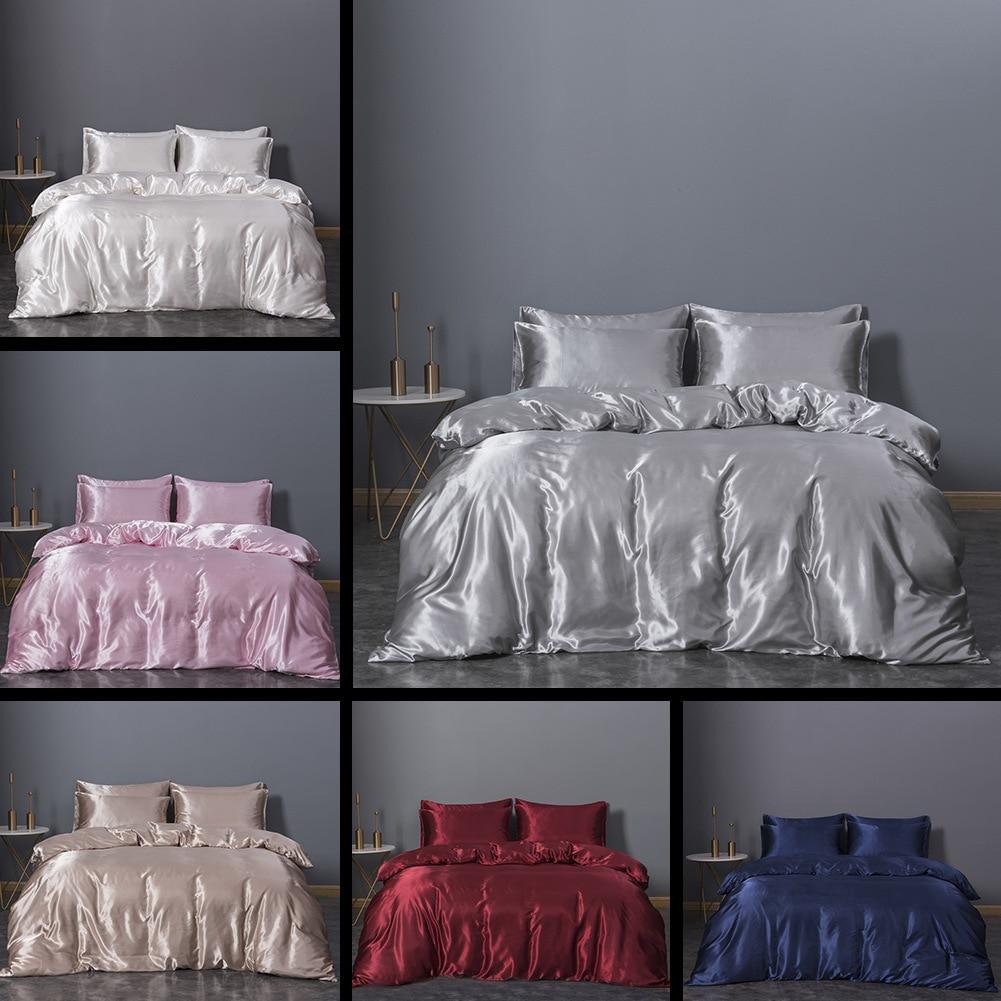 Европейский комплект постельного белья из искусственного шелка, Простые Модные королевские простые комплекты постельного белья большого ...