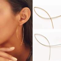 Fashion Minimalist Fish Shaped Dangle Earrings Bohemian Geometric Design Gold and Silver Color Earrings Jewelry Wholesal