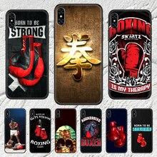 Boxing gloves combat Phone Case For iphone SE 2020 6 6S 7 8 11 12 13 Mini Plus X XS XR Pro Max black