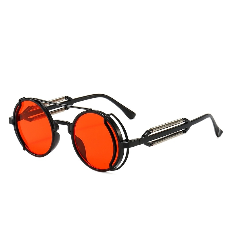 2021 new product steampunk sunglasses retro men's brand designer round punk glasses gothic style lad