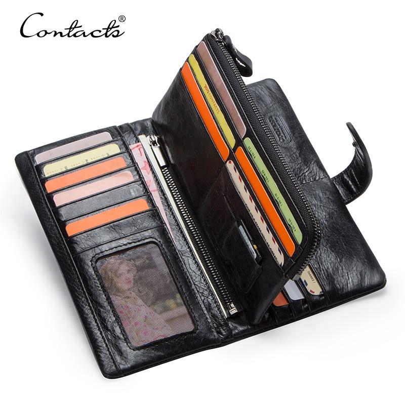 CONTACT'S محفظة طويلة جلد أصلي للرجال مع حقيبة الهاتف سستة عملة جيب محفظة الذكور مخلب محافظ للرجال Portfel صغيرة